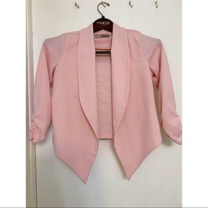 Women's Pink Open Front Blazer Jacket